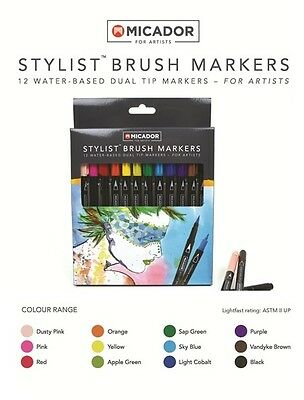 Micador Artists Stylist Water Based Dual Tip Brush Markers - Set12