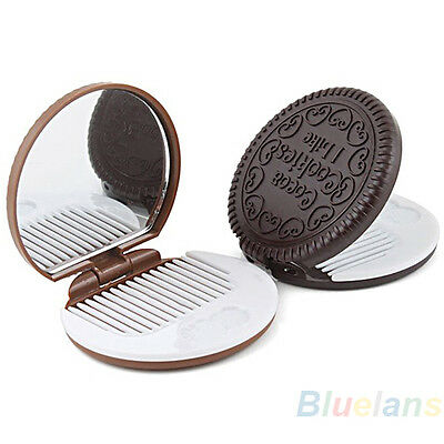 Creative Oreo Cookie Shaped Design Mini Small Mirror Makeup Chocolate Comb