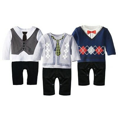 Fashionable Toddler Baby Boys Long Sleeve Clothes Romper Jumpsuit Kids Bodysuit