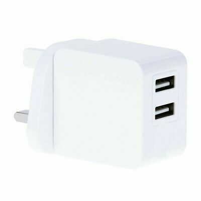 UK Mains Wall 3 Pin Plug Adaptor Charger 2 USB Ports for Phones Tablets 5V 2.1A