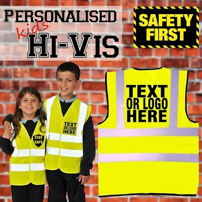 PERSONALISED CUSTOM PRINTED Yellow Children Hi Viz Kids High Vis Safety Vest