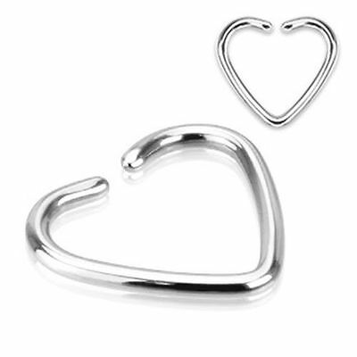 Surgical Steel Heart Fake Cartilage Ear Clip-On Single Closure Ring No Piercing
