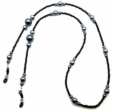 New Glasses Neck Chain Beaded Necklace Safety Cord Strap Black Pearl Beads