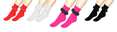 Girls Ladies Ankle Lace Socks With Frill Womens Pink Black Red White Size 4-6