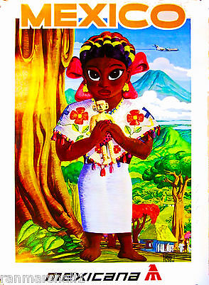 Mexico by Clipper Mexican Child America Vintage Travel Advertisement Art Poster