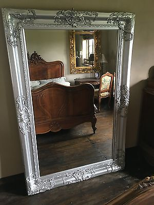 Silver Ornate Large Huge French Big Floor Dress Statement Wall Leaner Mirror 6FT