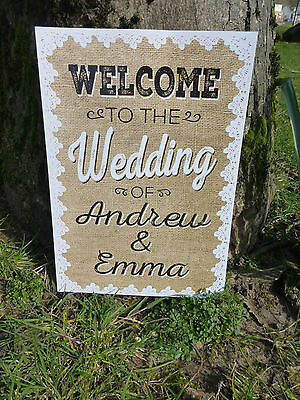 personalised WELCOME print sign HESSIAN AND LACE rustic chic style WEDDING