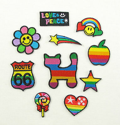 Peace// Love// Flower Iron On// Sew On Embroidered Cloth Patch Badge Appliqué W8P3
