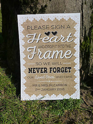 personalised HEART DROP BOX instructions sign HESSIAN LACE rustic styleWEDDING