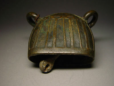ANTIQUE BURMESE BRONZE 'MANDALAY' WATER BUFFALO BELL & CLAPPER. MYANMAR, 19th C.