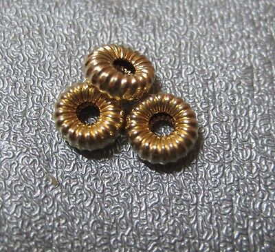 14K Gold Filled Roundel Corrugated Bead Spacer 7mm 3pcs