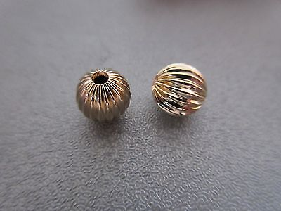 14K Gold Filled Corrugated Round Bead Spacer 6mm 2pcs