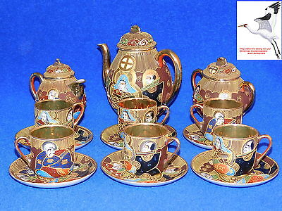 Japanese Satsuma Tea Set Samurai China Gold Lined Eggshell Porcelain Oriental