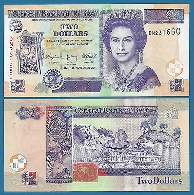 Belize 2 Dollars 2014 UNC P New 66 e Low Shipping! Combine FREE! (2015) 66e