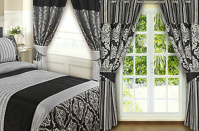 """Luxury Black & Silver Faux Silk Eyelet Fully Lined Ready Made Curtains 66"""" X 72"""""""