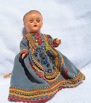 """Vintage Doll Moving eyes~head~arms~Legs~20cms tall !950""""s?  Hard plastic"""