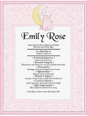 Baby Girl Personalized First Name Meaning Gift For Birthday