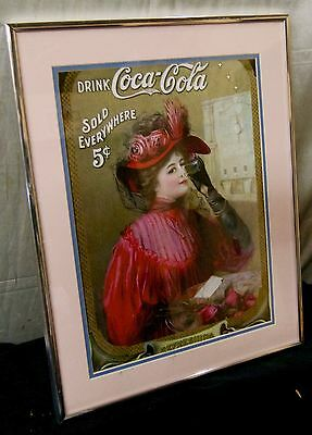 Pink Matted Vintage Woman Drinking Coca Cola Drink Poster w. Vintage Metal Frame