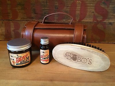 Bobos Beard Company Beard Care Kit Set Beard Balm + Beard Reviver Oil + A Brush