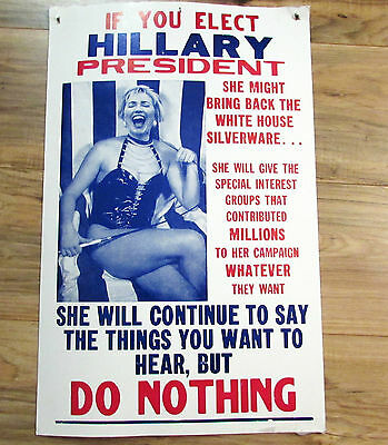 Old Hillary Clinton Political Humor Poster Sign_Man Cave Dart Board_Make Offer