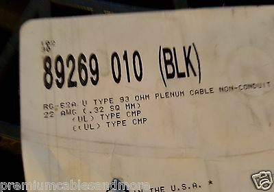 Belden Wire 89269 RG-62/U 22awg 93Ohm Coaxial Cable Plenum Teflon/FEP Black/10ft