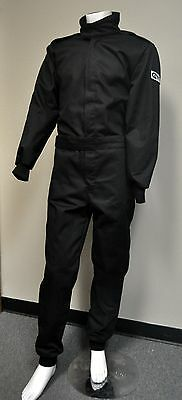 New Adult SFI 3.2a/1 Certified Single Layer Racing Jumpsuit, LARGE, BLACK