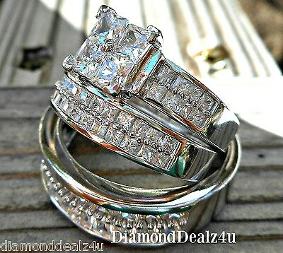 His & Hers 925 Sterling Silver White Gold 3pc Engagement Ring Wedding Ring Set