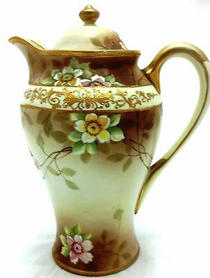 Antique Nippon Hand Painted Gold Embellished Chocolate Pot