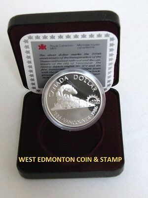 1986 Proof Silver Dollar - Royal Canadian Mint Issue - Vancouver Centennial