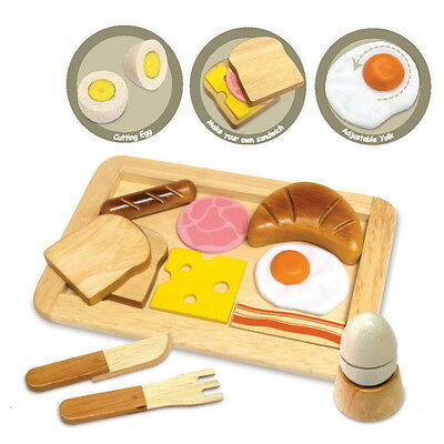 Wooden Breakfast Lunch Play Set Kitchen Food Toy Pretend & Play Toast Egg Cheese