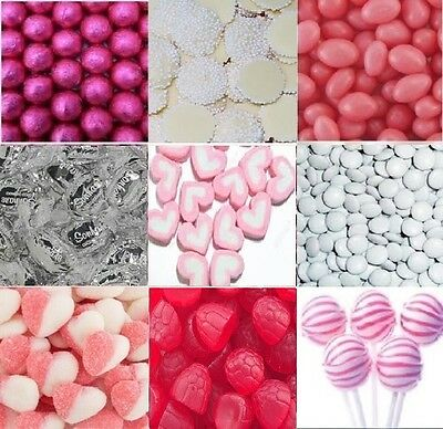 4.5kg DIY Pink White Silver Lollies Choc Candy Bar Wedding Party + Accesories