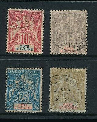 FRENCH COLONIES IVORY COAST 1900 ALLEGORY SET of 4...10c is a FOURNIER