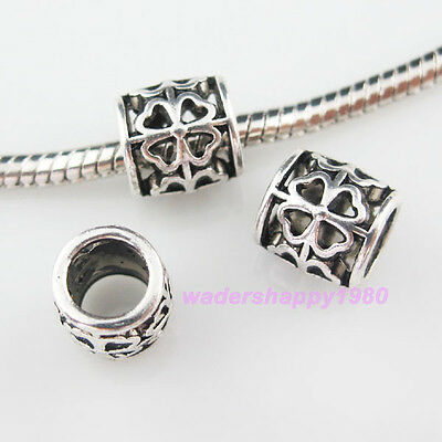 20Pcs New Charms Tibetan Silver Tone Tube Flower 6mm Hole Spacer Beads 9mm