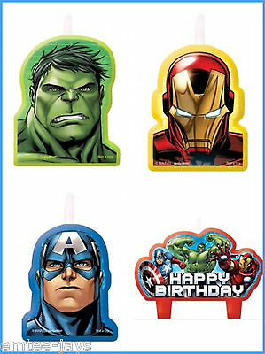 Avengers Candles - Birthday Cake - Moulded - 4 candles - Australian Seller