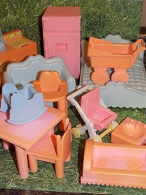 Lot of Playskool Vintage Dollhouse Kitchen luaundry babies living  Furniture