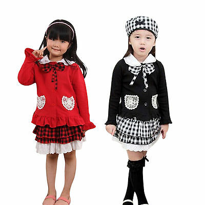 Girls Kids Baby 3pcs Outfit Bowknot Top Coat Plaid Skirt Hat Dress Skirt Clothes