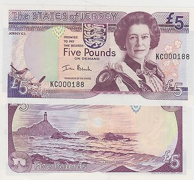 2 x JERSEY P27a 2000 £5 BANKNOTES IN MINT CONDITION