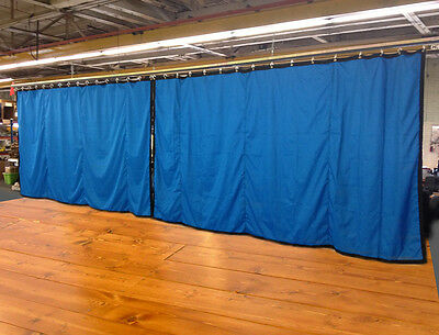Lot of (2) Royal Blue Curtain/Stage Backdrop, Non-FR, 9 H x 20 W