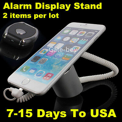 2x Clamp Anti-lost Display Alarm Mobile Phone Security Recoiler Holder + Charger