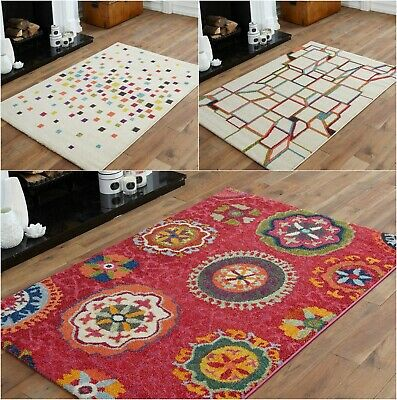 Small Geometric Shape Multi Colour Rug Quality Modern 10-12Mm Thick Soft Rug Mat