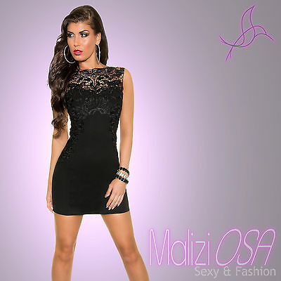 innovative design 89228 6e3ff MINI ABITO TUBINO nero Pizzo Vestito DONNA Sera Party Elegante vestitino  Sexy