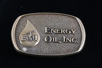 "Solid Brass Bts © 1978 Made In Usa ""Energy Oil, Inc."" Belt Buckle 4689"