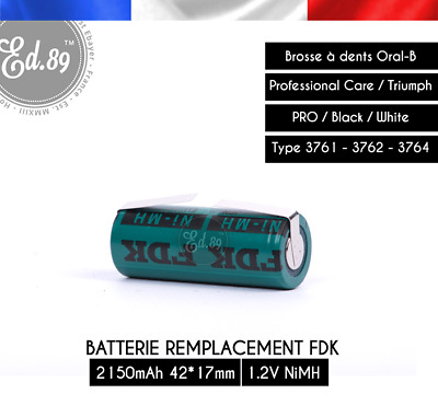 Batterie FDK NiMH 2150mAh 42x17mm Oral B Triumph Type 3761 3762 3764
