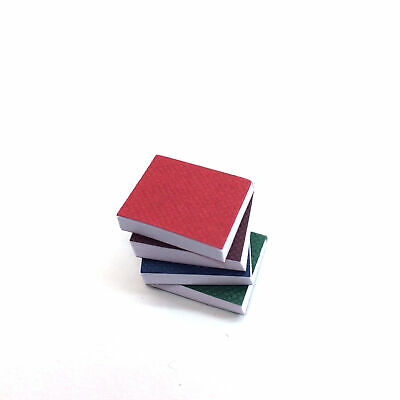 "Miniature Set of 4 Books w/ Real Pages Assorted Colors 1"" Dollhouse Diorama"
