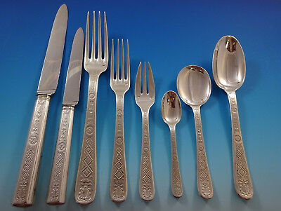 Lauzun by Puiforcat Sterling Silver Flatware Set French 77 Pcs w/Fitted Box