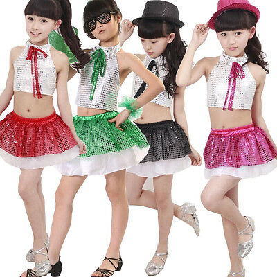 29ff1855b510 Girls Sequined Modern Tap Dance Tops+Dress Kids Jazz Ballroom Dancing  costumes