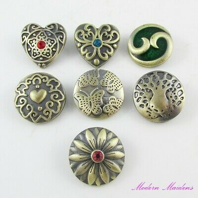 Antique Bronze Noosa Style Snap on Chunk Button 20mm Select Design