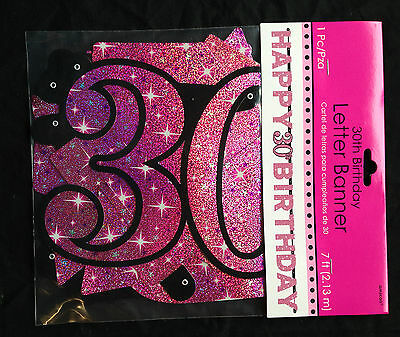 Large 30th Birthday Letter Banner Pink Party Decoration Age 30 Prismatic Sparkle
