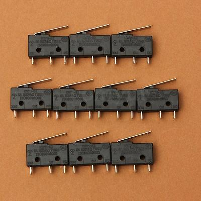 10 x SPDT Straight Hinge Lever Roller Momentary Micro Switch KW11-3Z 5A 250V AC