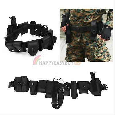 Police Guard Tactical Belt Buckles With 9 Pouches Utility Kit Security System UK